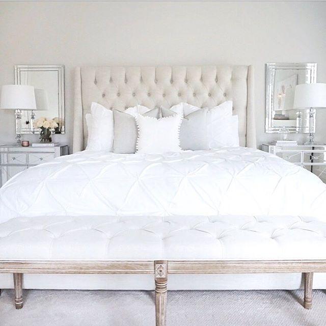 Bedroom Bench Name Bedroom Ideas Cozy Bedroom Ideas Glam Black Leather Bed Bedroom Ideas: Bedroom Arhaus Tufted Linen Bed Mirrored Nightstands
