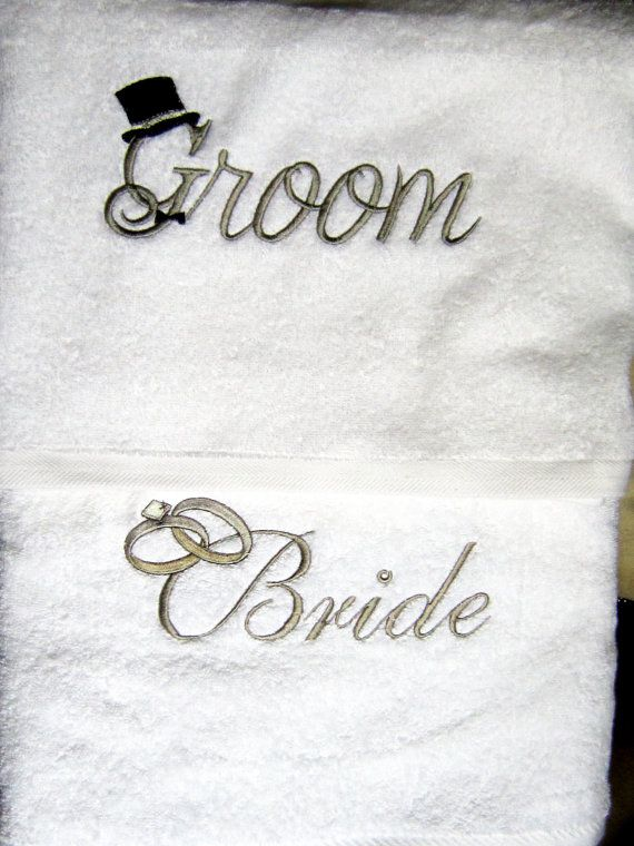 Embroiderey for Towels for Bride and Grooms-Couples Shower Gift-Personalized Bridal Shower Decorations.