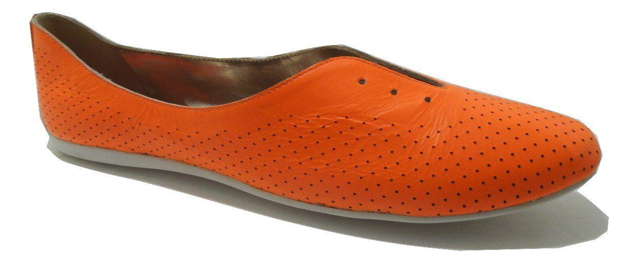 "Bcbgmaxazria Women's Ma-Fastur Flat Orange Ballet (9.5M). Heel measures approximately 0.5"". Platform measures approximately 0.25"". Manmade sole. Leather. Imported."
