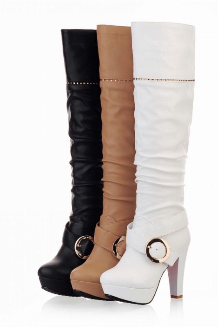 Knee Length High Heel Boots in Brown