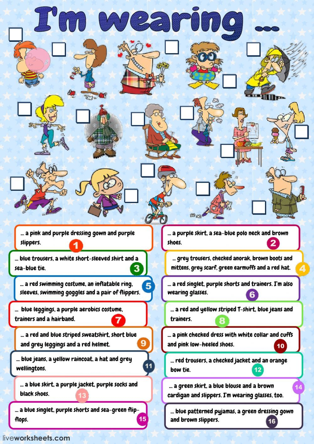 The clothes interactive and downloadable worksheet. You