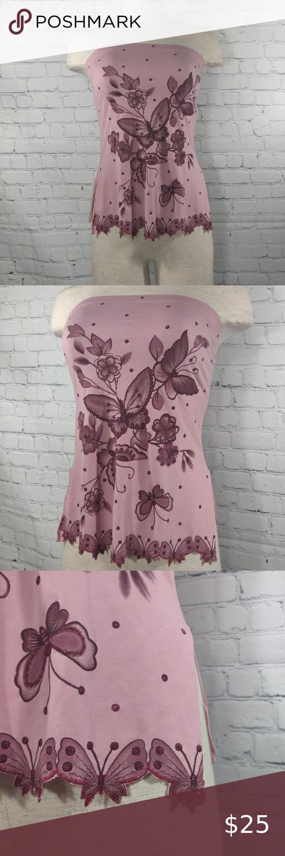 Vintage Lipstick Butterfly Strapless Top Size S
