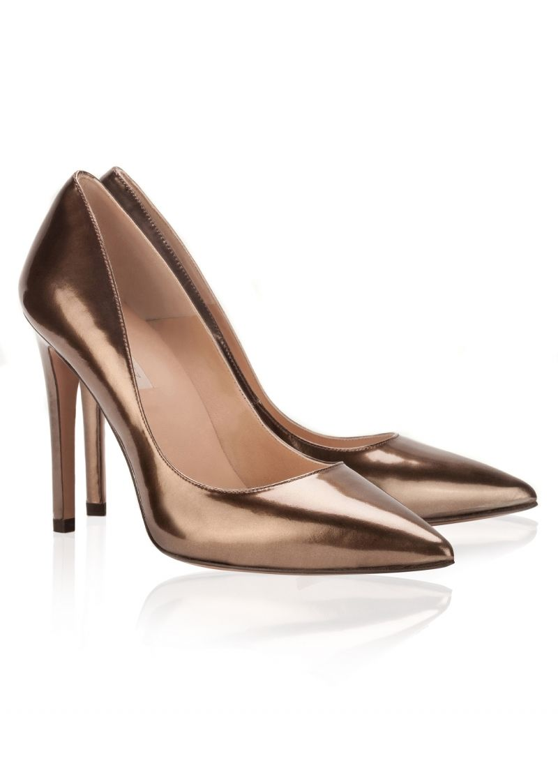 d6dace094e1a Pura Lopez Ella- Pointed high heel pumps by Pura Lopez. Crafted in bronze  metallic leather.