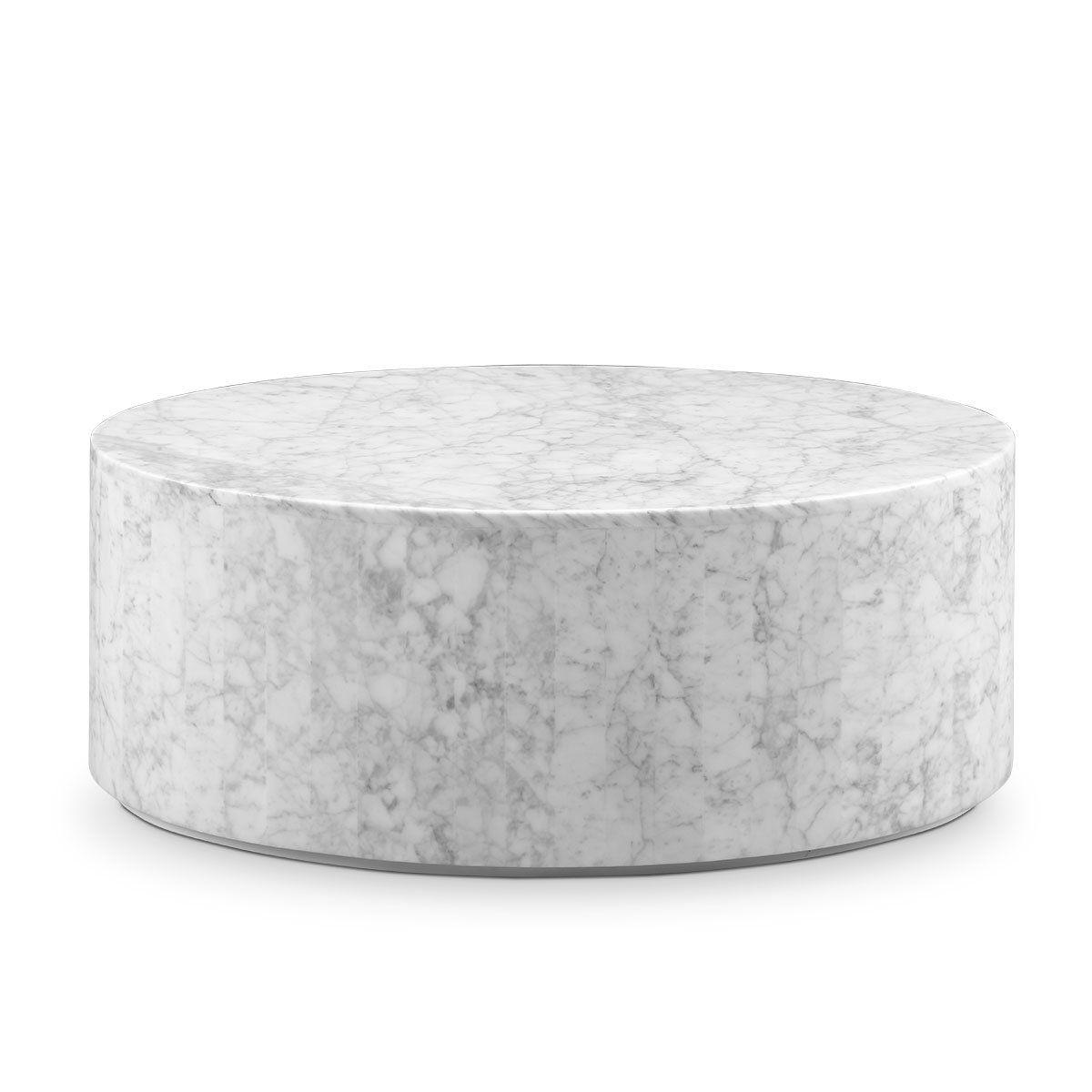 Carrara Marble Drum Coffee Table Oval Drum coffee