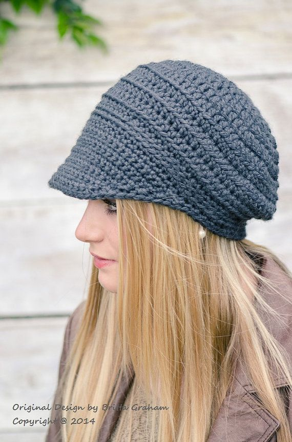 Crochet Hat Pattern - Easy Peasy Button-Up Brimmed Newsboy Cap No ...
