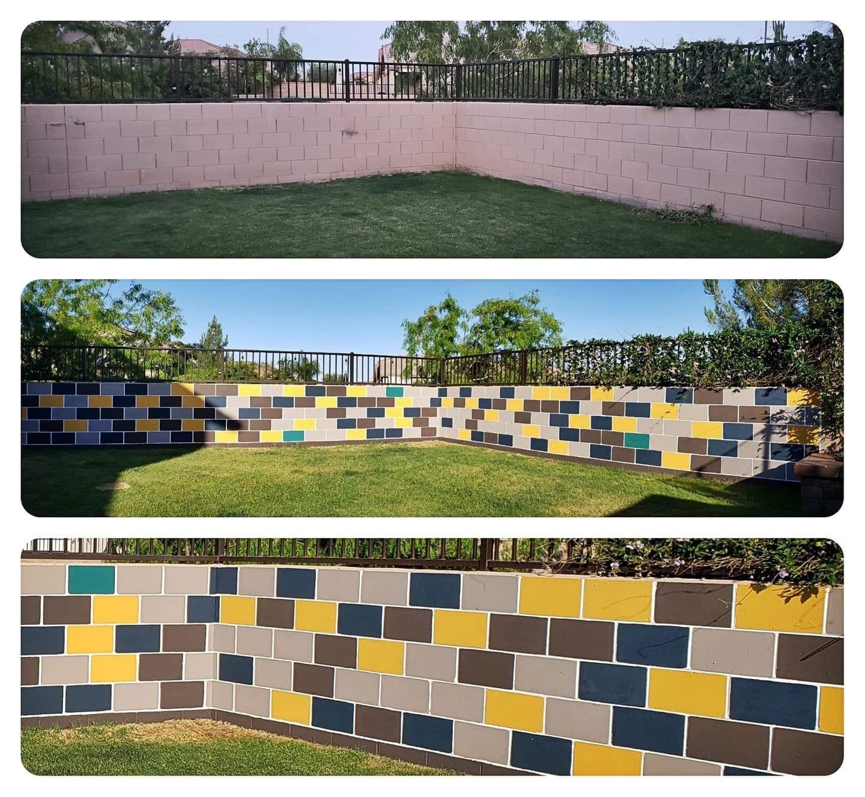 Cool Idea From A Fellow Phoenix Gardener In 2020 Cinder Block Walls Cinder Block Block Painting