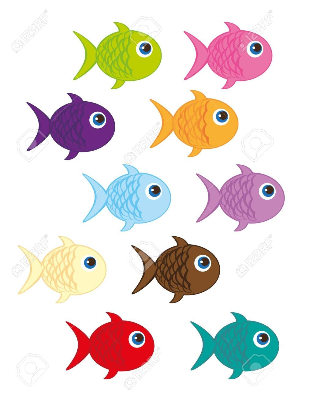 Cute Fish Cartoon Isolated Over White Background Vector Ad Cartoon Fish Cute Isolated Vector Cartoon Fish Cute Fish Fish Quilt