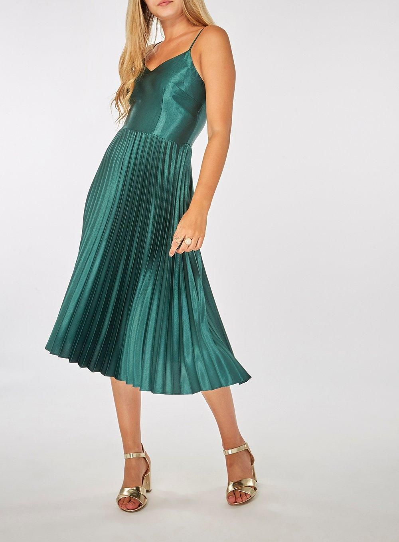 5b31978739 **Lily & Franc Green Pleated Camisole Dress - Midi Dresses - Dresses -  Dorothy Perkins