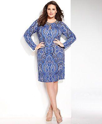 8a4686980cad INC International Concepts Plus Size Long-Sleeve Paisley-Print Shift Dress