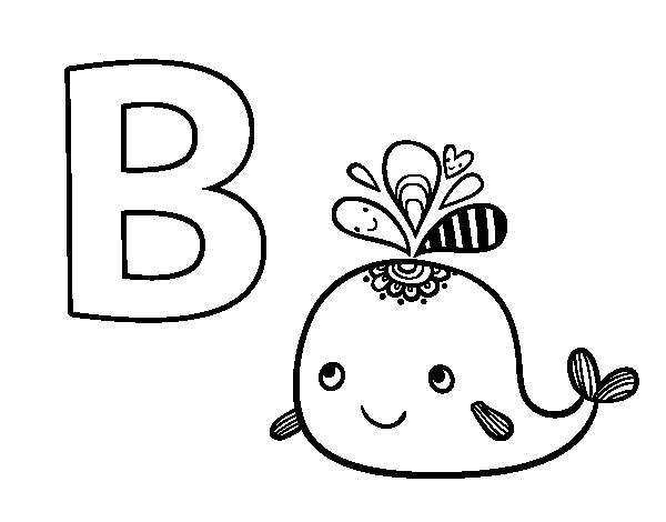 Dibujo del Abecedario - Letra B para colorear | Baby Shower Ballena ...