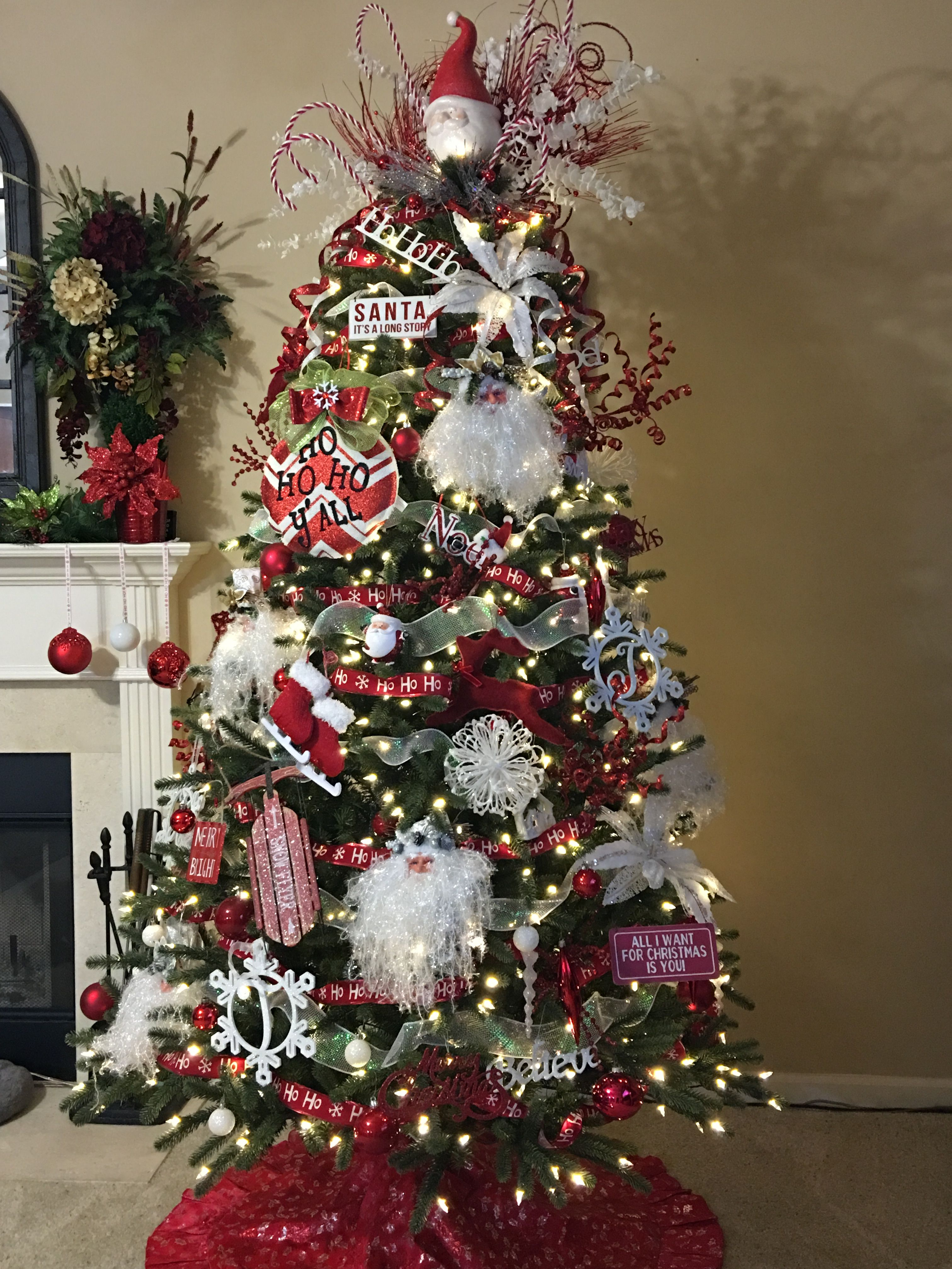 Santa Themed Christmas Tree Topper Done Ceramic Santa That Has A