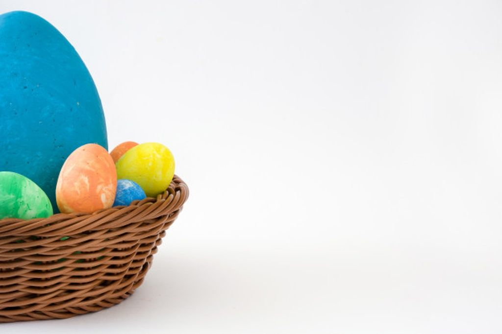 Colorful easter eggs in a basket isolated on white background copy space #paid, , #Sponsored, #Paid, #eggs, #easter, #isolated, #basket