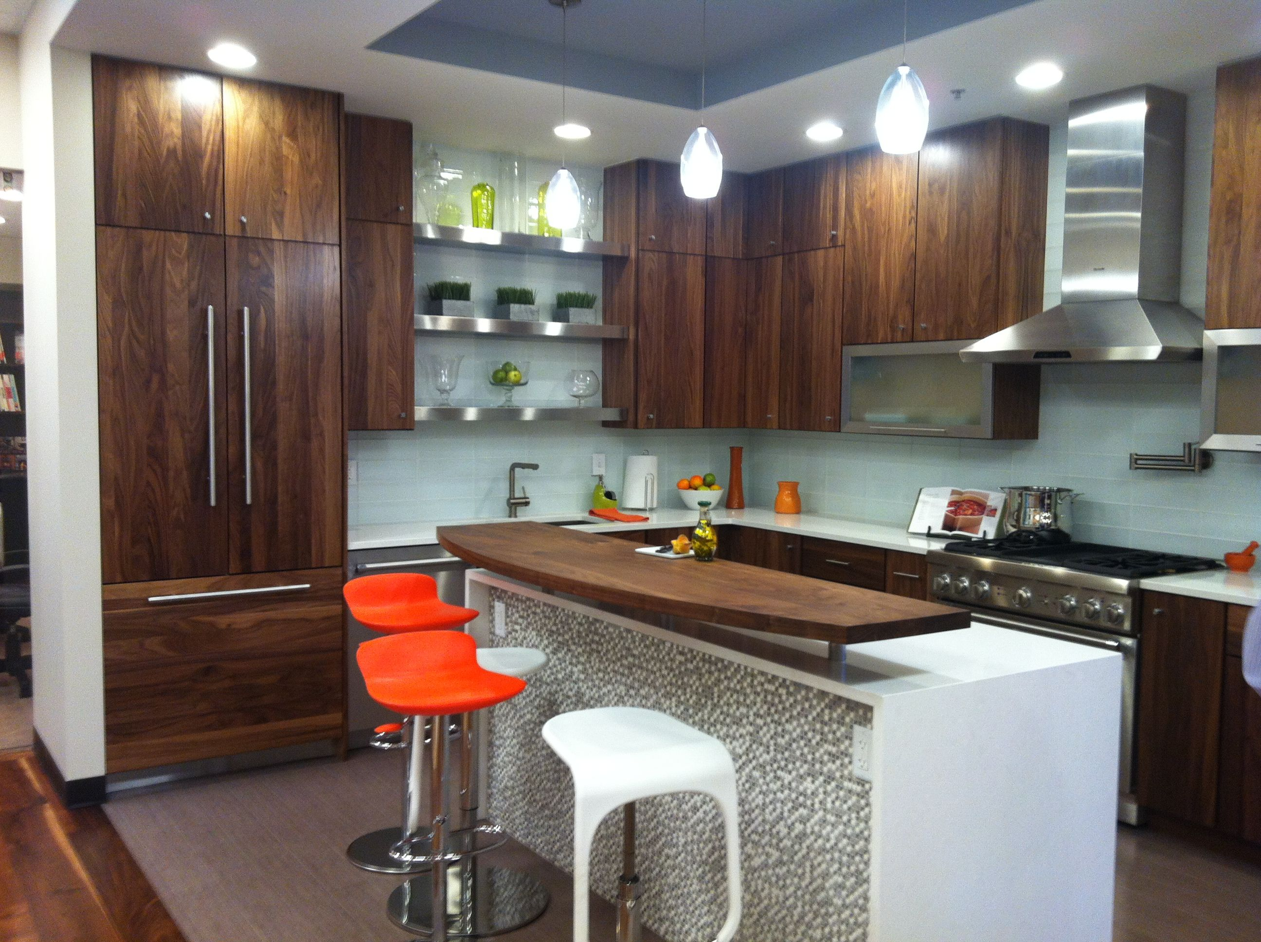 Black Walnut cabinets, stainless floating shelves, and ...