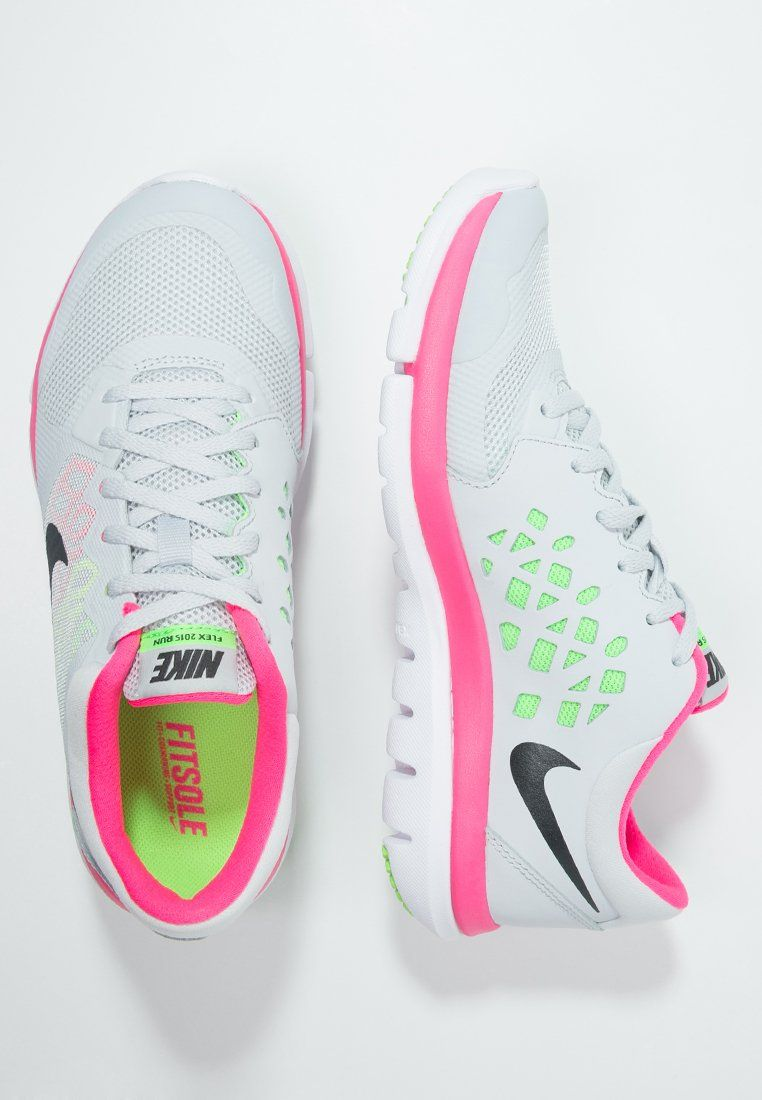692c54e5f47c3 Nike Performance FLEX RUN 2015 - Lightweight running shoes - pure platinum metallic  hematite voltage green hyper pink for £70.00 (29 12 15) with free ...