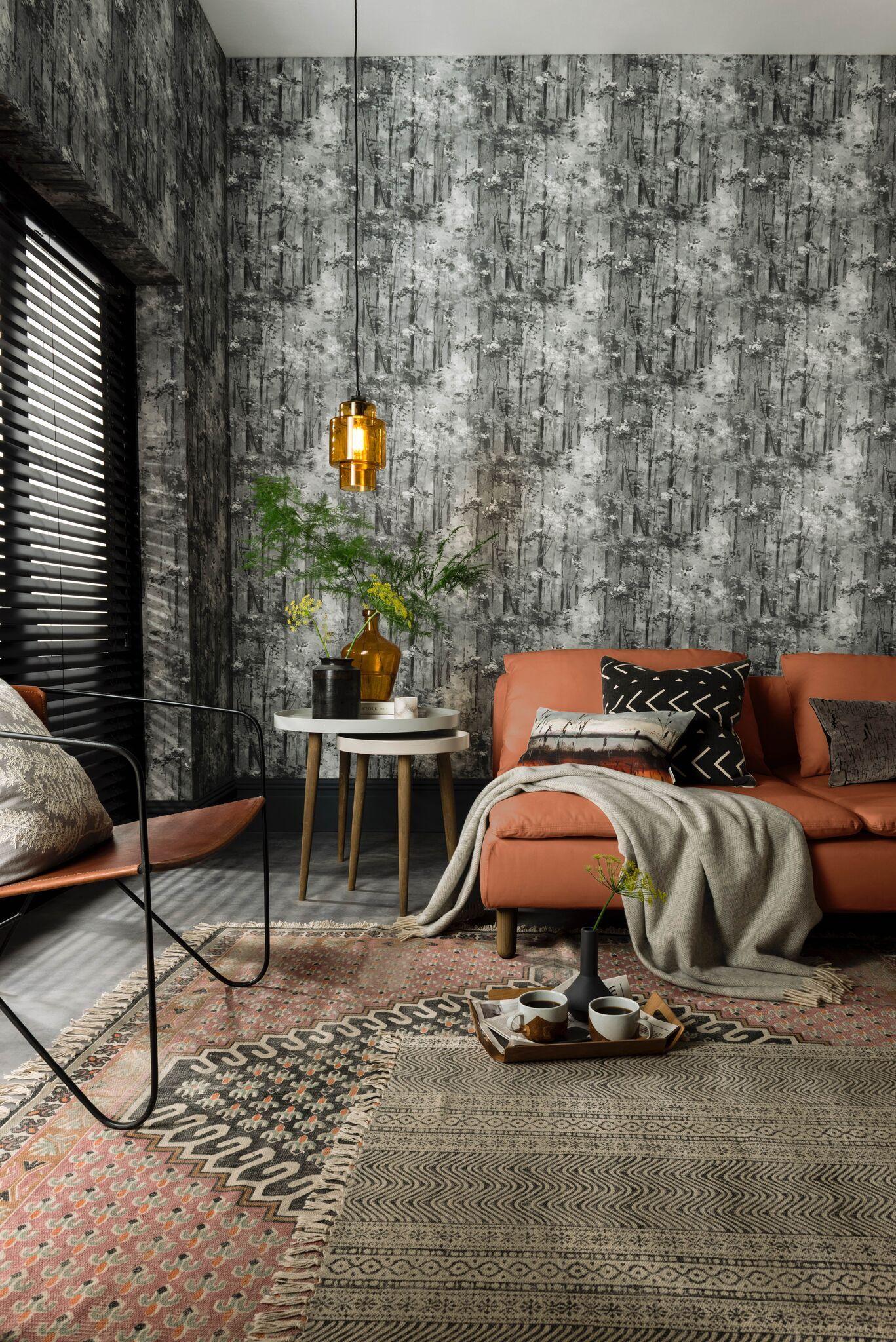 Tree Design Wallpaper Living Room: Glade Jet-1838 Wallcoverings