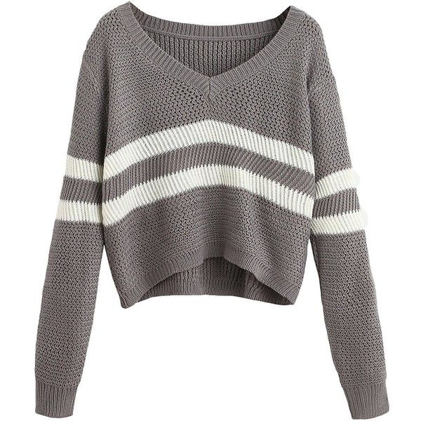 db0c67279 SheIn Women s Grey Striped V Neck Crop Sweater one-size Grey at ...