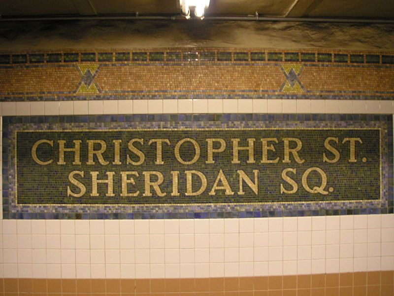 Subway Map Stops Christopher St.Mosaic Sign On Christopher Street Sheridan Square Subway Station In