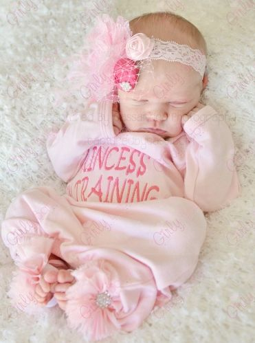 c9b047859 Baby Girls Light Pink Princess in Training Newborn Take Home Hospital Gown Outfit  Set