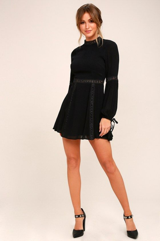 fea28f7308f2b Indie Mae Black Long Sleeve Skater Dress in 2019 | Dresses | Dresses ...