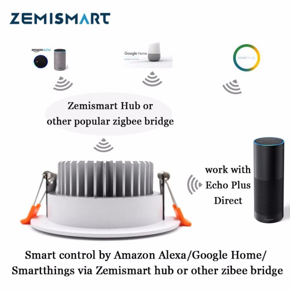 Zll Zigbee 7w Smart Rgbw Downlight Work With Hue Led Bulb Light Work With Amazon Alexa Echo Googlehome Smarthings Via Zemismar Downlights Amazon Alexa Led Bulb