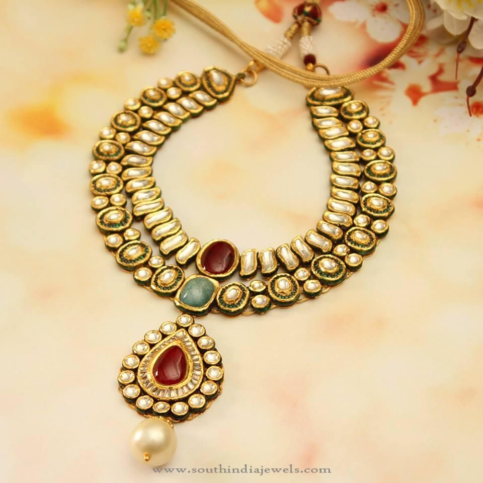 Indian Wedding Gold Necklace Jewellery Sets Gold Pendants: North Indian Style Gold Kundan Necklace Set