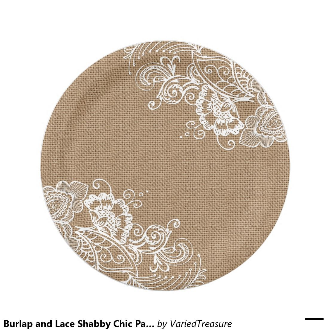 Burlap and Lace Shabby Chic Paper Plates | Burlap, Shabby and 30th