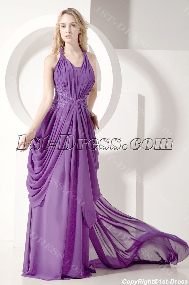 Purple Plunging Mother of Bride Gown with Train:1st-dress.com