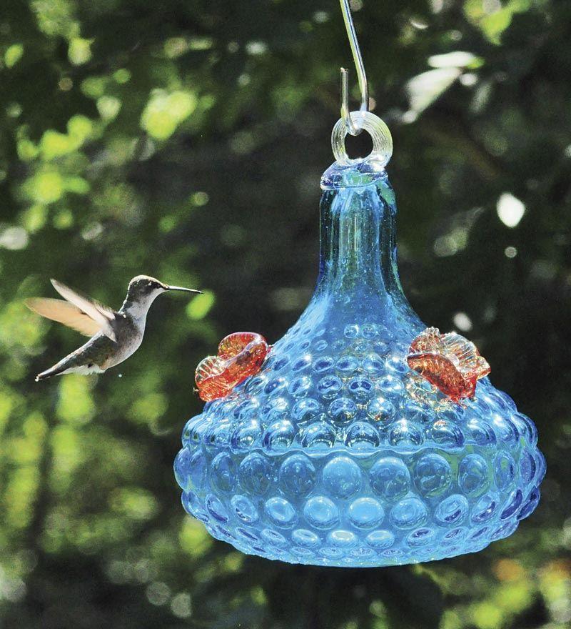 Hobnail Blue Glass Hummingbird Feeder Hummer Feeders