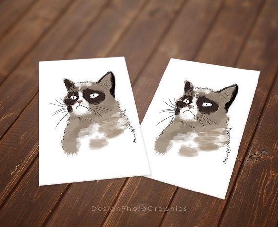 Grumpy Cat Birthday Card Greetings Card Instant Download