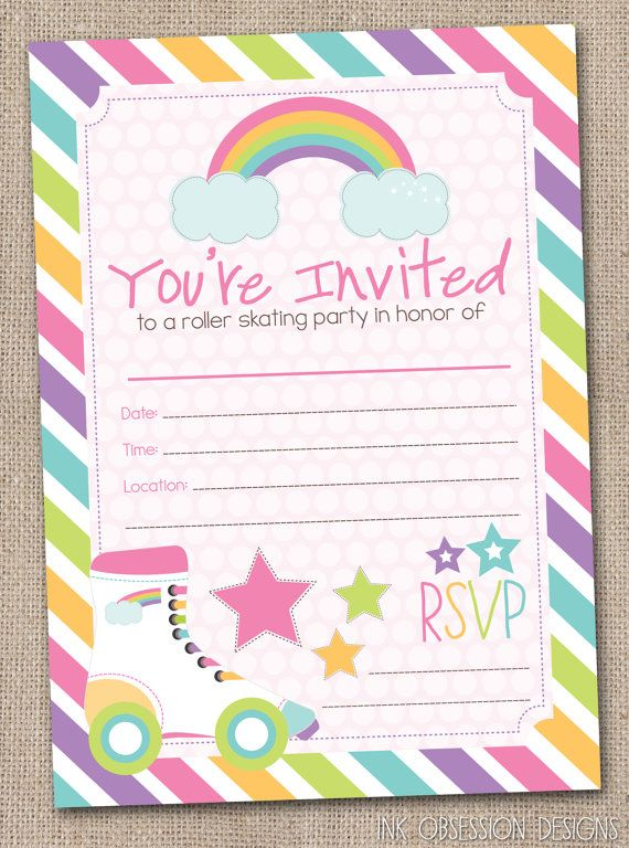 Fill In Roller Skating Party Invitations Printable Girls Birthday – Free Printable Roller Skating Party Invitations