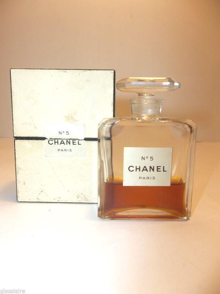 Vintage 1950 Chanel No 5 Extrait Pm 1 Oz Boxed Crystal Bottle