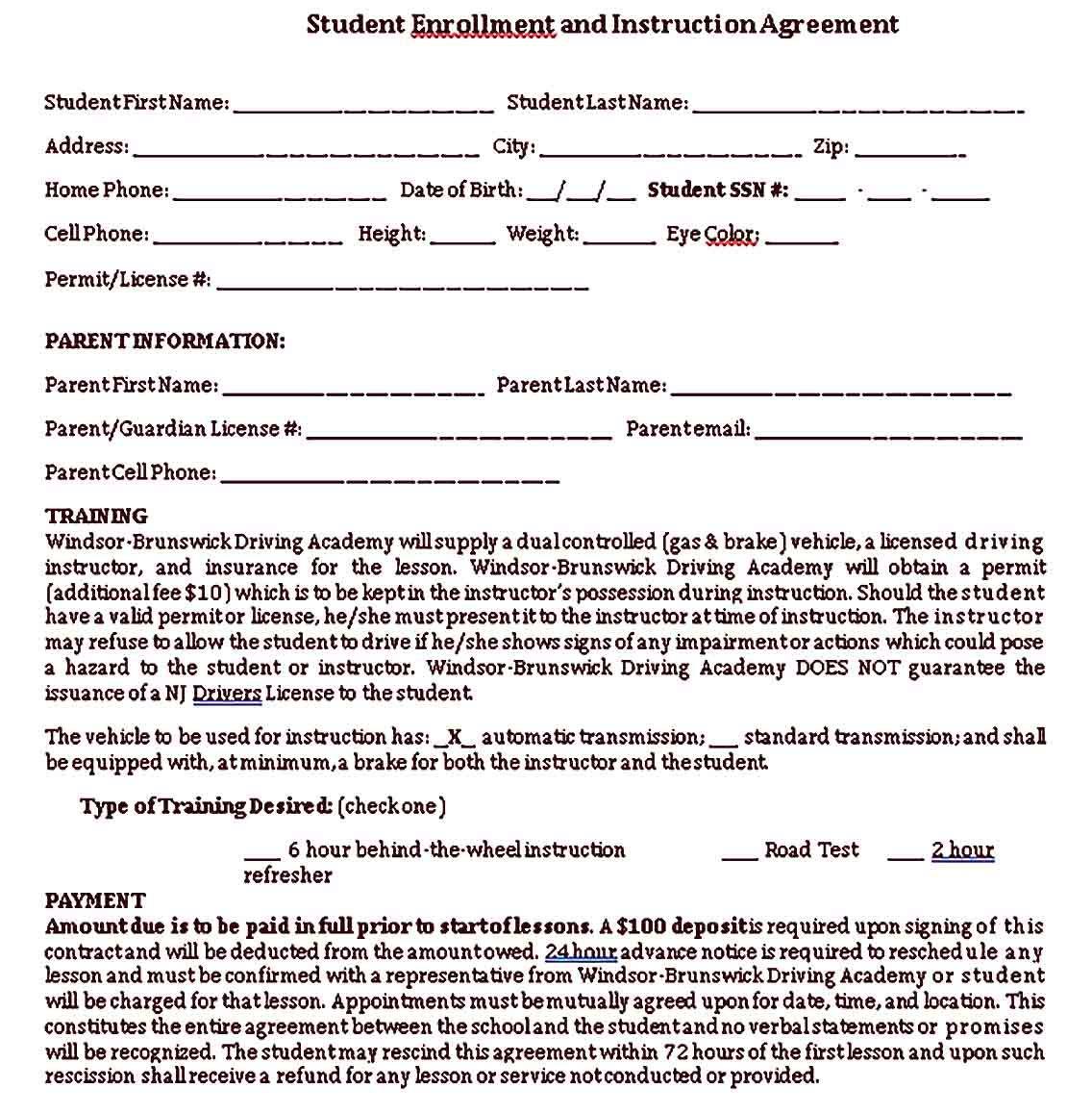 School Receipt Sample Template