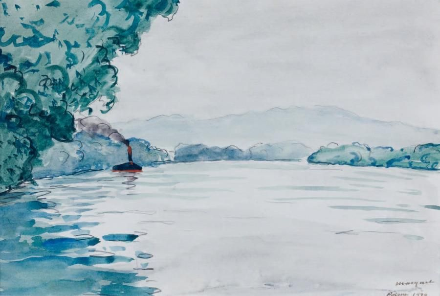 Albert MARQUET La Seine à Poissy, 1929. Aquarelle, signée ...