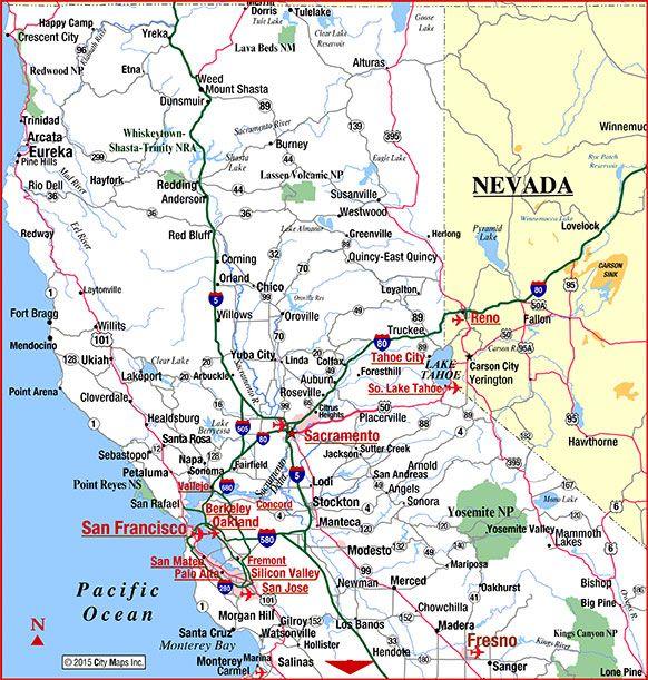 Modern Map Travel California California Map Highway