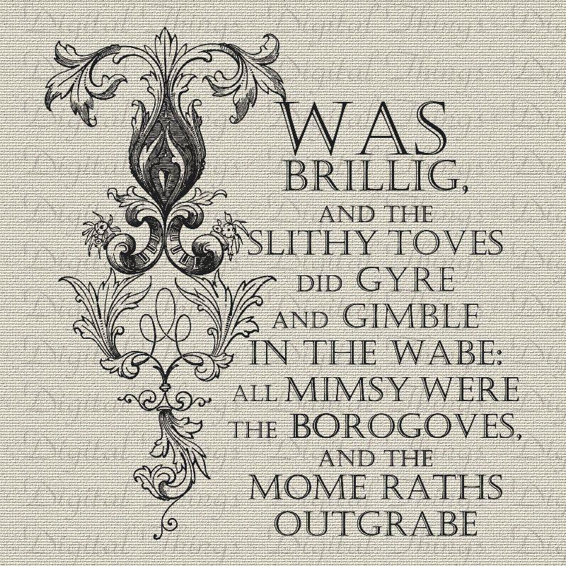 alice in wonderland jabberwocky poem word art printable