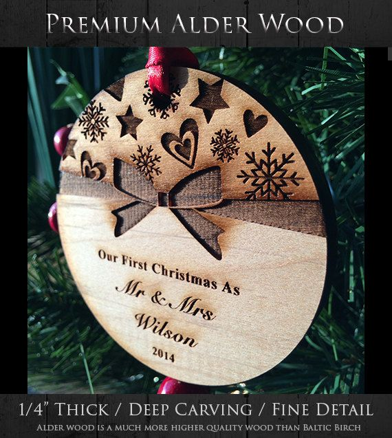Newlywed Bow-Tie Keepsake Ornament - Personalized Holiday Ornament