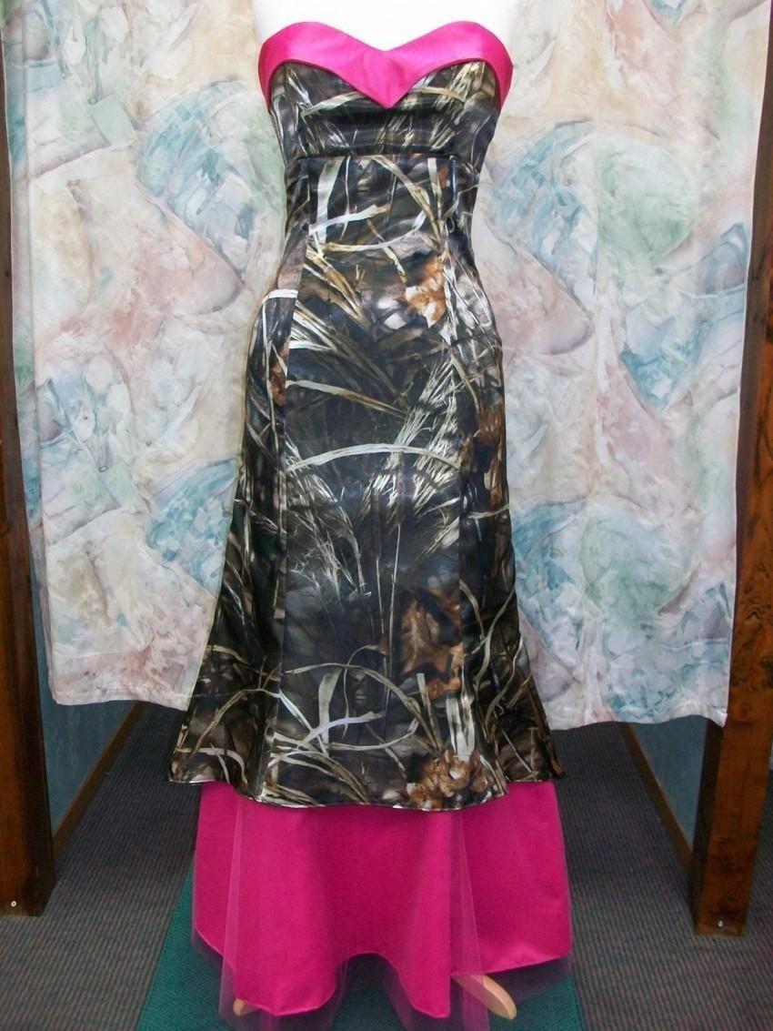 Camo prom dresses sweetheart neckline fuchsia camouflage homecoming