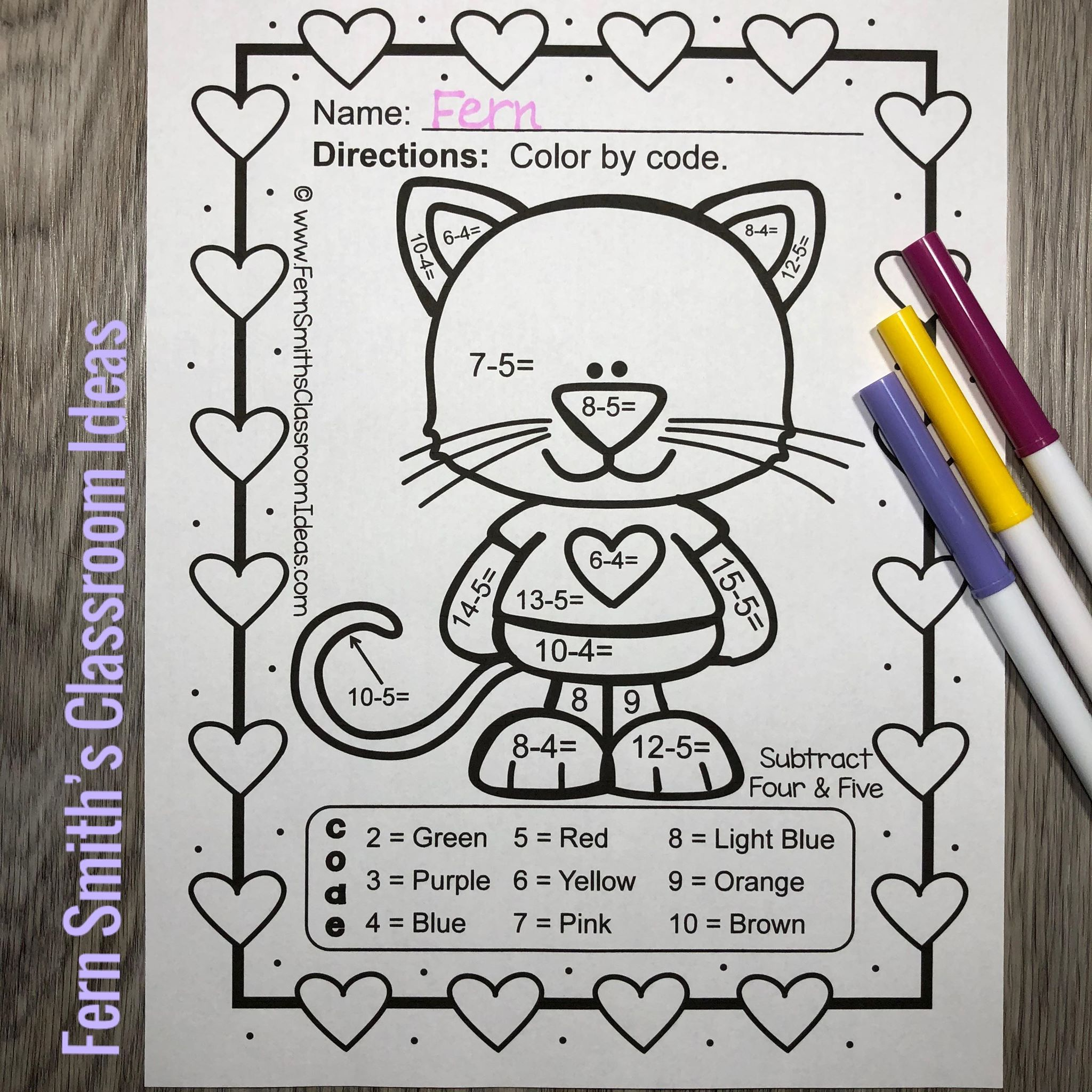St Valentine S Day Color By Number Addition Amp Subtraction