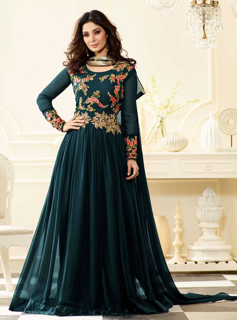 bcc24d8b3737 Buy Teal Georgette Floor Length Anarkali Suit 91328 online at lowest price  from vast collection at m.indianclothstore.c.