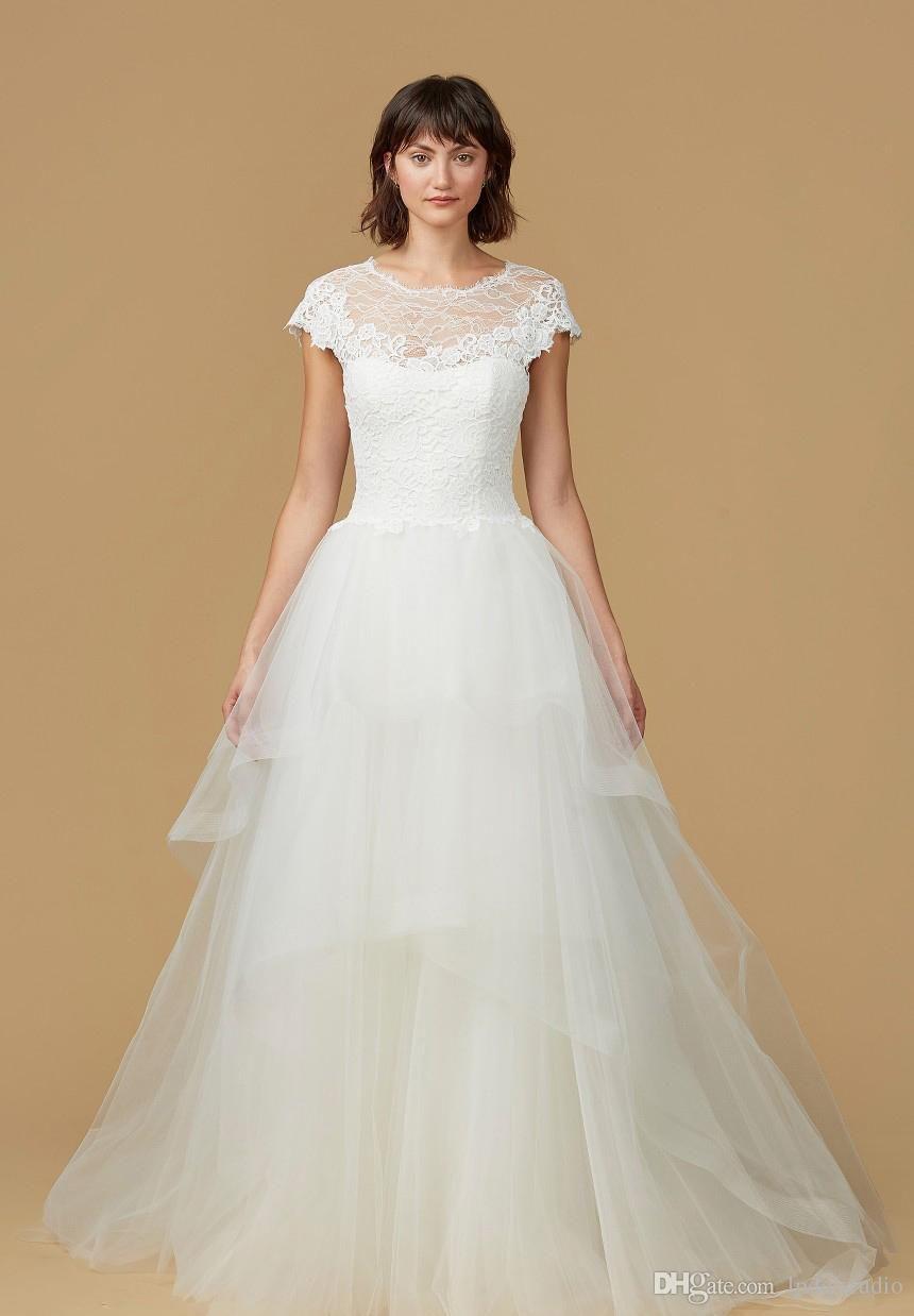Lace ball gown wedding dresses cap sleeve sweep train organza bridal