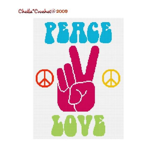 Peace Love Sign Hand Afghan Crochet Pattern Graph Afghan Crochet
