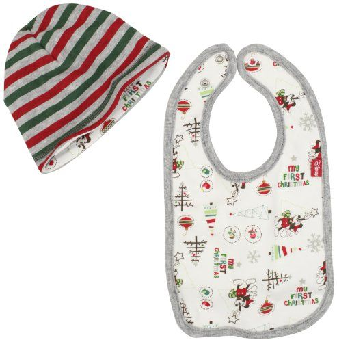 Disney Baby-Boys Newborn Mickey Mouse My First Christmas Reversible Cap And  Bib 8c97364806f