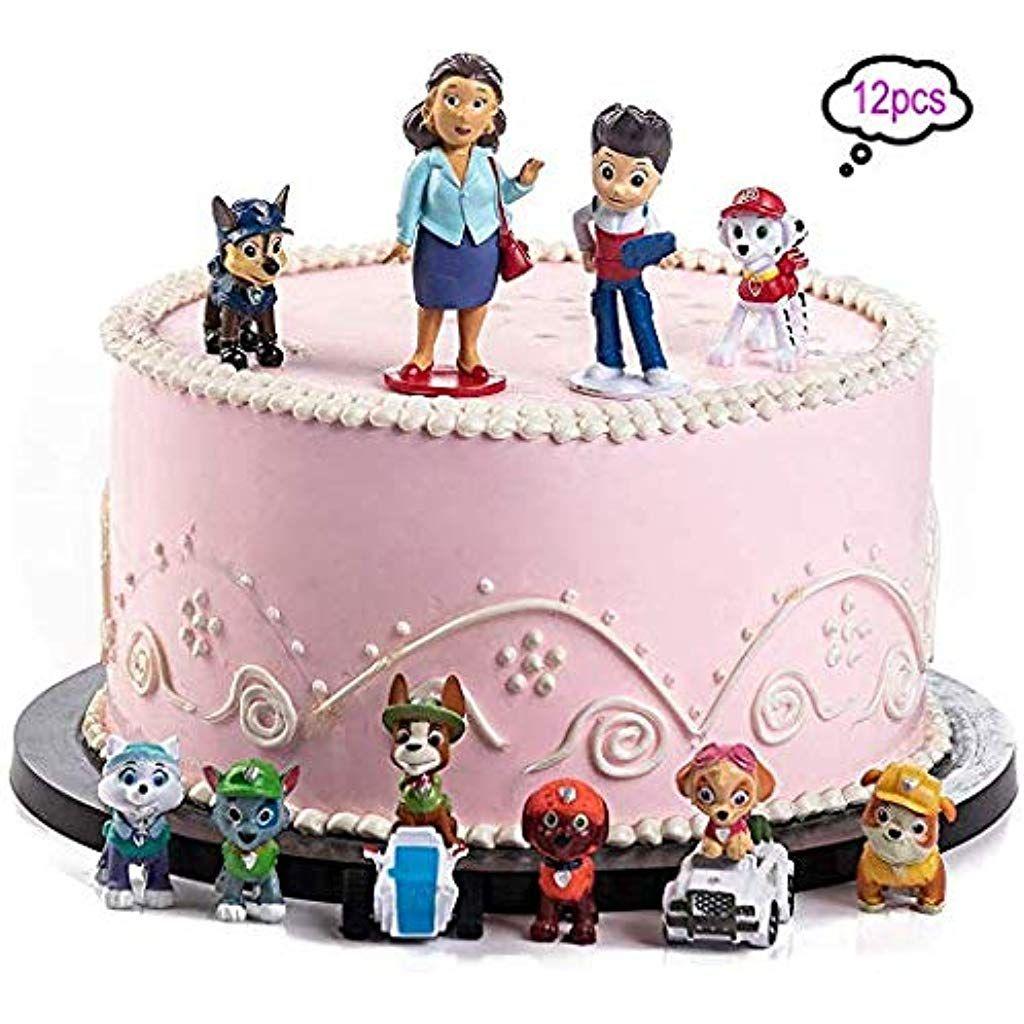 Shanfaa 12 Stuck Paw Dog Patrol Cake Topper Kinder Mini Figuren Spielzeug Und Baby Shower Birthday Party Kuchen Dekoration Verso Party Partygeschirr Geburtstag
