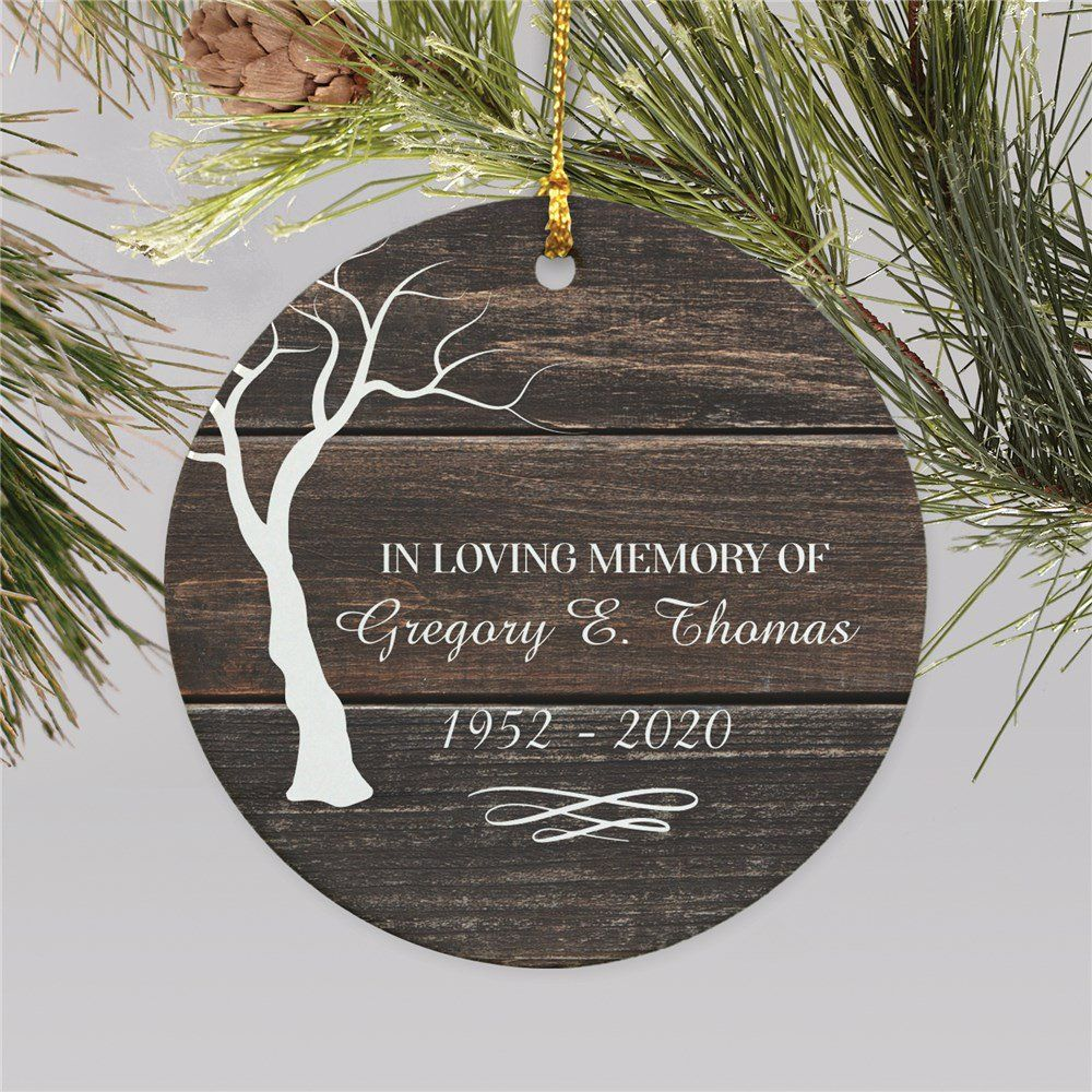 Personalized In Loving Memory Tree Round Memorial Ornament For Dad Personalized Christmas Tree Ornament In Loving Memory Gifts Memory Tree