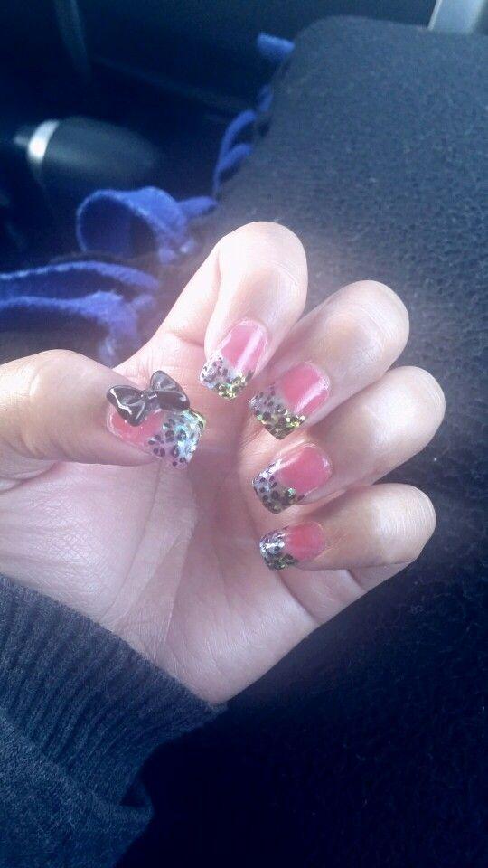 Cheetah nails with a bow ♡