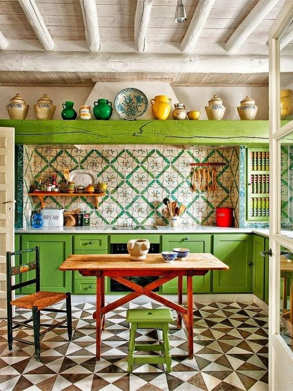 eclectic kitchen with wood counters, aven santa barbara mexican