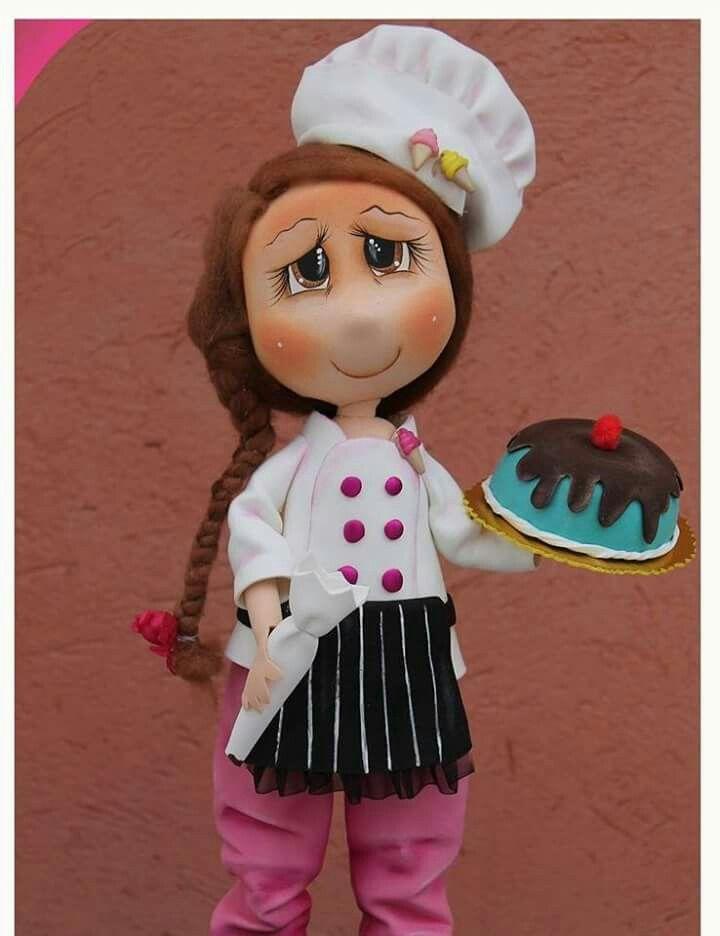 Fofucha Cozinheira Boneca Artesanato Bonecas Em Eva Trabalhos