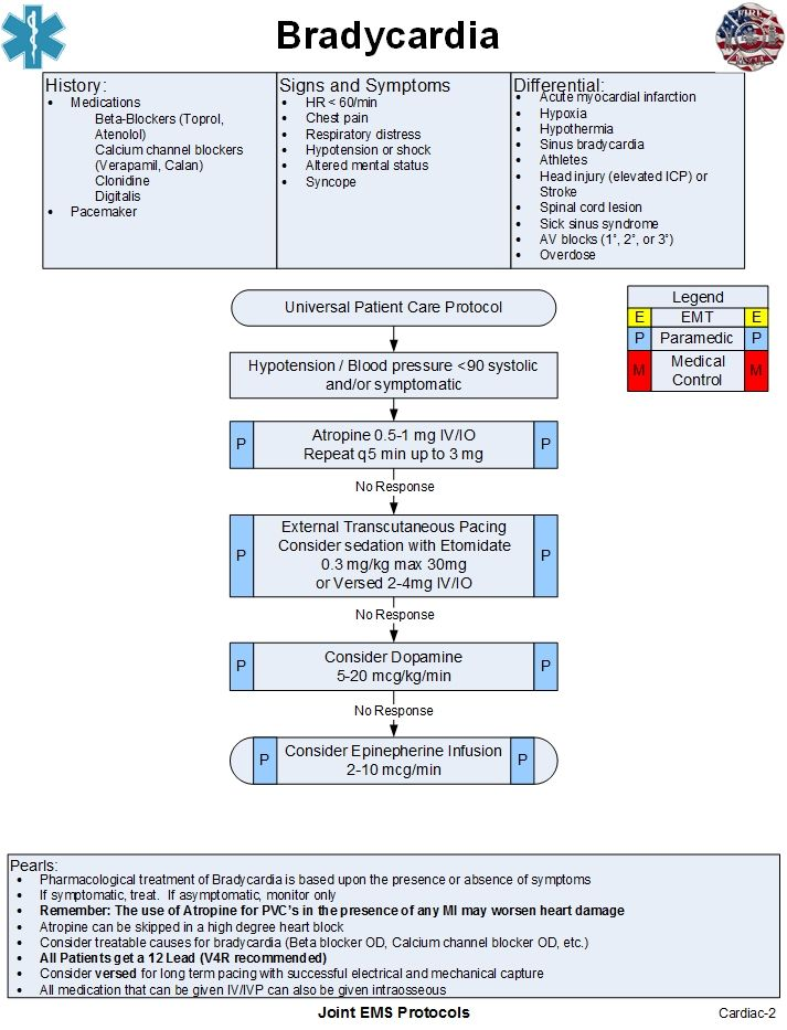 Bradycardia | Joint EMS Protocols | Emergency nursing ...