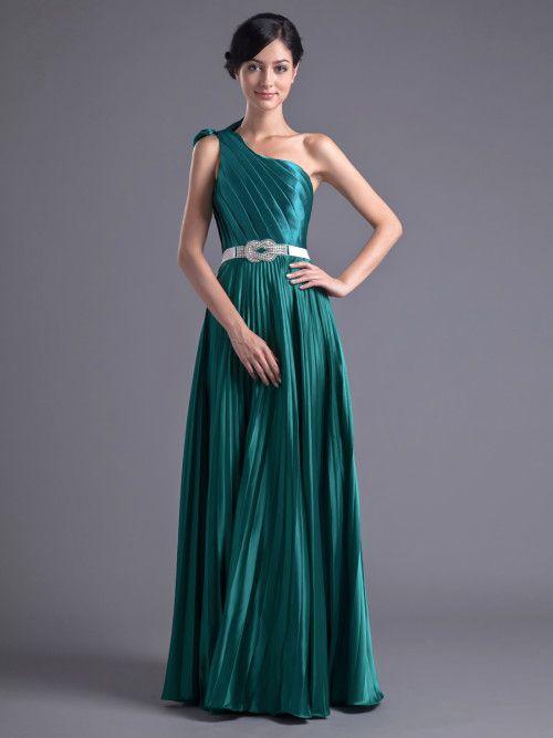 One Shoulder Strap Pleated Elastic Satin Floor Length Evening Dress ...