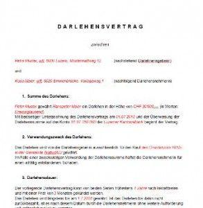 Vorlage Darlehensvertrag Muster Und Vorlagen